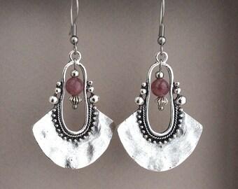 Bohemian Earrings, Purple Bib Earrings, Tribal Earrings, Silver Drop Earrings, Ethnic Earrings, Large Earrings, Sterling Silver,