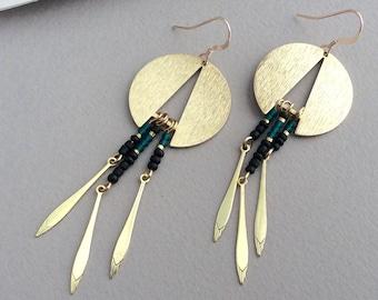 Gold Dangle Earrings, Brass Drop Earrings, Seed Bead, Chandelier Earrings, Boho Earrings Gold, Tribal Earrings, Ethnic Jewellery, Statement