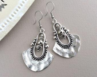 Large Silver Earrings, Ethnic Earrings, Silver Bib Earrings, Sterling Silver, Tribal, Summer, Bohemian Drop Earrings, Boho Earrings UK