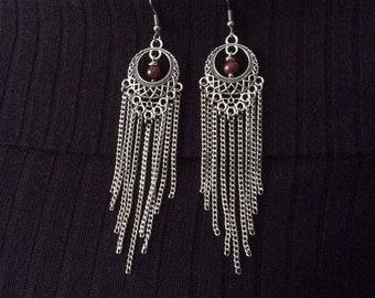Boho Earrings, Chain Earrings, Long Earrings, Light Earrings, Silver Drop Earrings, Garnet Earrings, Sterling Silver, Chandelier Earrings