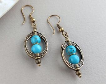 Tribal Earrings, Bohemian Earrings, Boho Jewellery, Bronze Earrings, Turquoise, Geometric, Long Drop, Ethnic Earrings, Bead