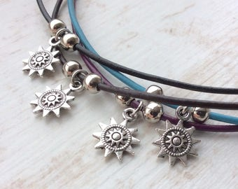 Sun Charm Choker. Leather Choker. Leather Cord. Cute Necklace. Layering. Hippie. Black Cord. Sun. Flower. Simple Necklace. Festival Necklace