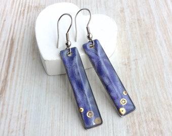 Purple Earrings, Resin Earrings, Bar Earrings, Long Earrings, Resin Earrings, Sterling Silver Earrings, Drop Earrings, Steampunk Earrings