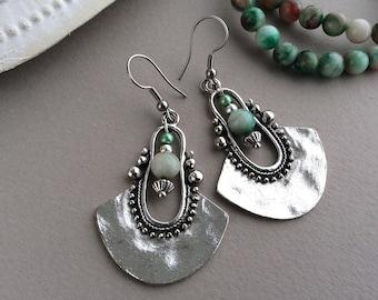 Green Bead Earrings, Ethnic Earrings, Boho Earrings, Tribal Earrings, Silver Drop Earrings, Long Drop, Large Earrings, Sterling Silver