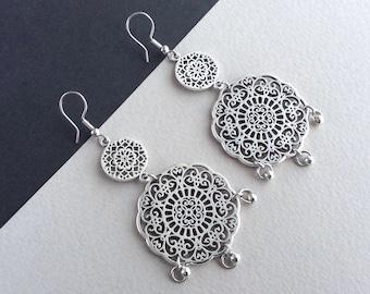 Chandelier Earrings, Mandala Earrings, Large Drop Earrings, Antique Silver Earrings, Everyday Earrings, Mandala Jewelry, Large Earrings