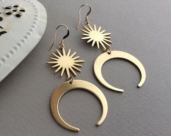 Crescent Moon Earrings, Gold Moon Earrings, Brass Sun Earrings, Large Earrings, Boho, Hypoallergenic, Big Earrings, Celestial, Star Earrings