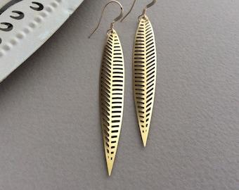 Tribal Leaf Earrings, Long Brass Earrings, Gold Feather Earrings, Filigree, Ethnic Earrings, Boho Style, Lightweight, 14K Gold Filled, UK