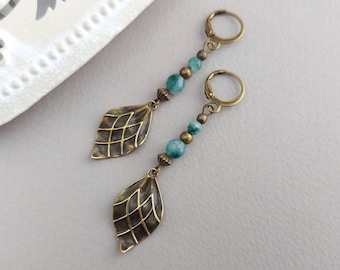 Bronze Leaf Earrings, Green Bead, Boho, Bohemian Jewellery, Ethnic Earrings, Latchback, Vintage Bronze, Leaf Charm, Bead Drop, Nature Lover