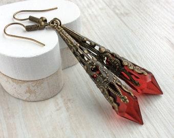 Red Drop Earrings, Medieval Earrings, Renaissance Earrings, Downton Abbey Earrings, Elegant Victorian Earrings, Art Deco Jewellery, Filigree