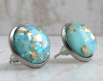 Turquoise Studs, Stainless Steel, Blue Stud Earrings, Light Blue Studs, Large Studs, Fake Plugs, Turquoise Jewellery, Resin Earrings, Teal