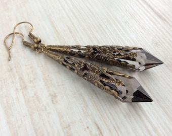 Victorian Filigree Earrings. Medieval Earrings. Renaissance Earrings. Downton Abbey Earrings. Elegant Earrings. Art Deco Jewellery. Smokey