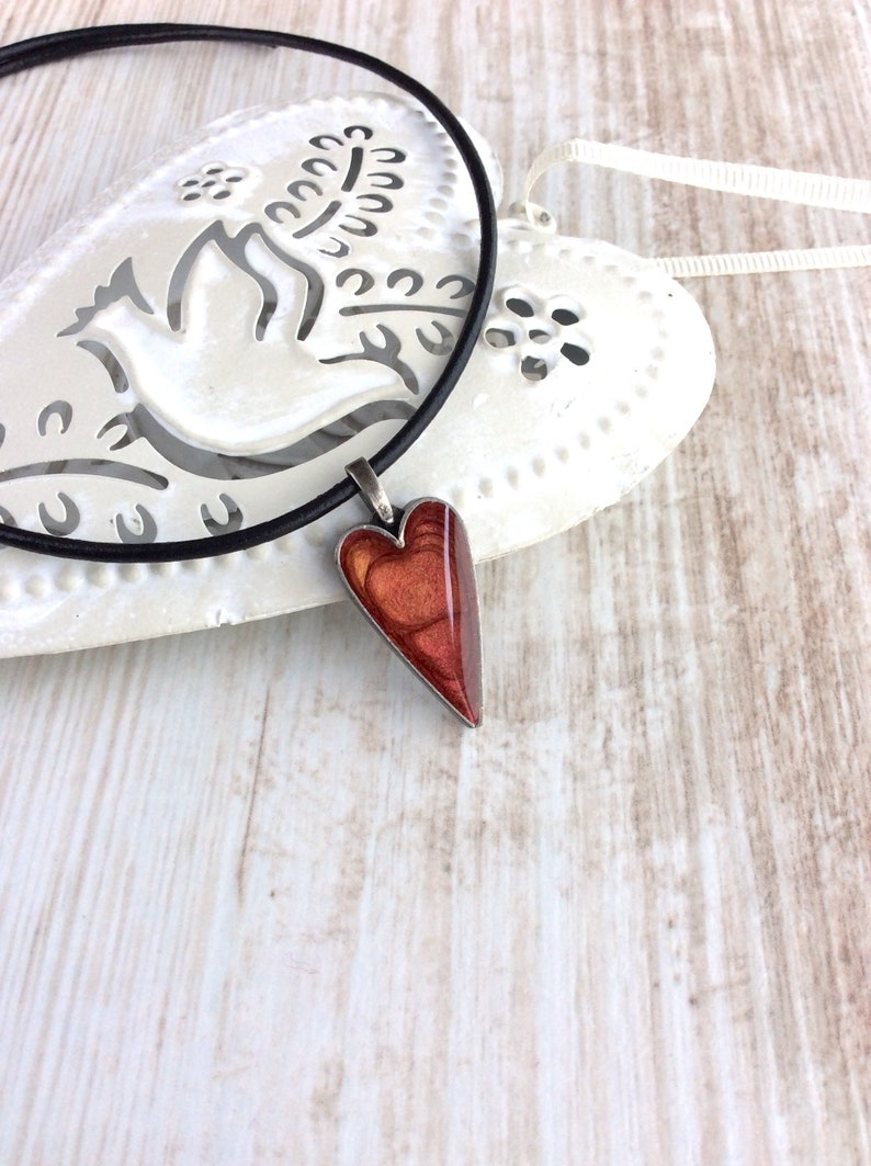 Love Heart Necklace Red Heart Necklace Heart Pendant Resin image 0