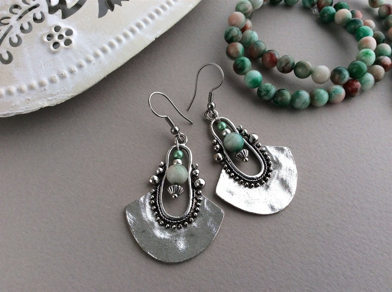 Green Bead Earrings Ethnic Earrings Boho Earrings Tribal image 0