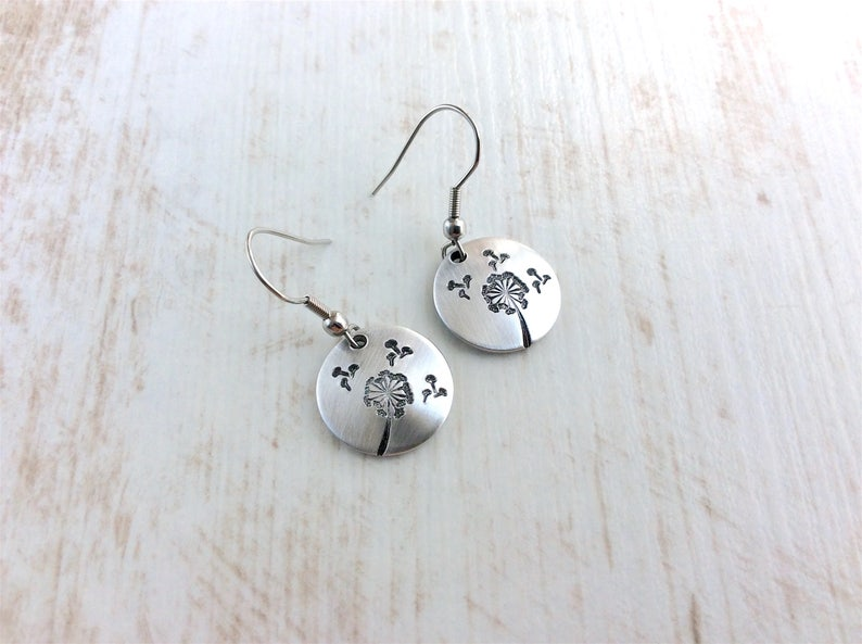 Small Wish Earrings. Hand Stamped Earrings. Aluminium image 0