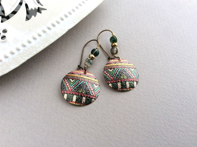 Green Bronze Earrings Agate Ethnic Earrings Green and Gold image 0