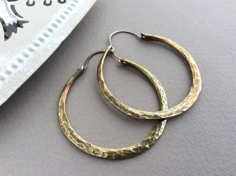 Hammered Brass Hoops Hand Forged Oxidised Brass Chunky image 0
