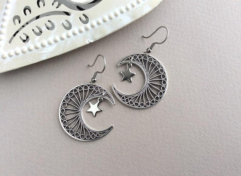 Moon Earrings Star Earrings Celestial Silver Filigree Moon image 0