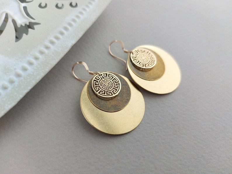 Bohemian Earrings Gold Disc Earrings Brass Round Earrings image 0