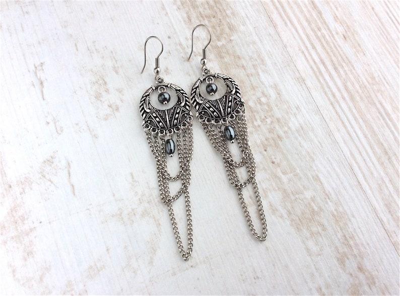 Chandelier Earrings Dreamcatcher Earrings Chain Earrings image 0