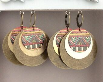 Bronze Boho Earrings, Large Rustic Earrings, Gold Circle, Brass Disc, Geometric, Large Light Earrings, Bohemian, Tribal, Ethnic, Mixed Metal