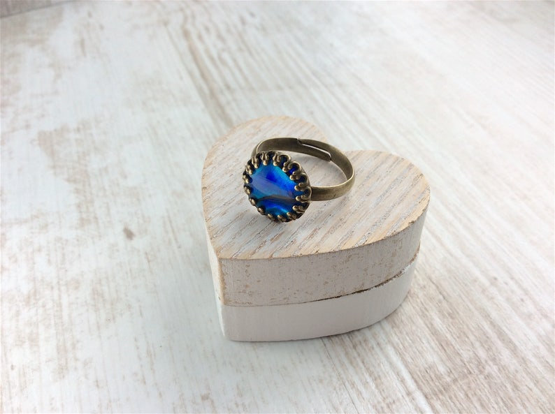Blue Abalone Ring Cocktail Ring Bronze Ring Shell Ring Round Ring Adjustable Ring Abalone Ring. Bright Blue Ring Crown Ring