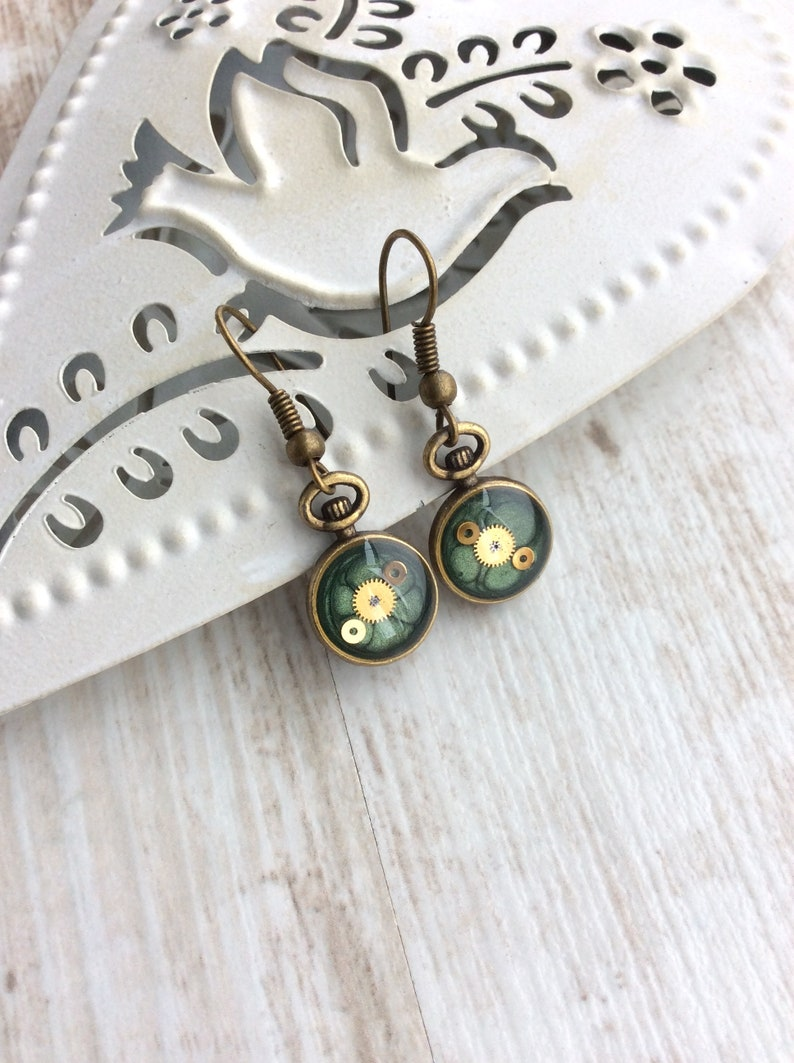 Green Earrings. Small Drop Earrings. Watch Part Earrings. image 0