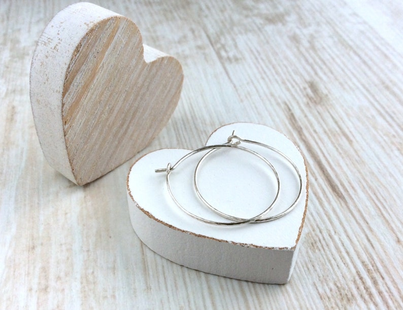 Delicate Silver Hoop Earrings Sterling Silver Hoops image 0
