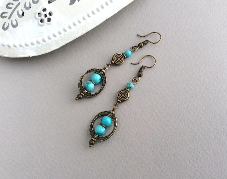 Bohemian Jewellery Boho Earrings Bronze Earrings Long image 1
