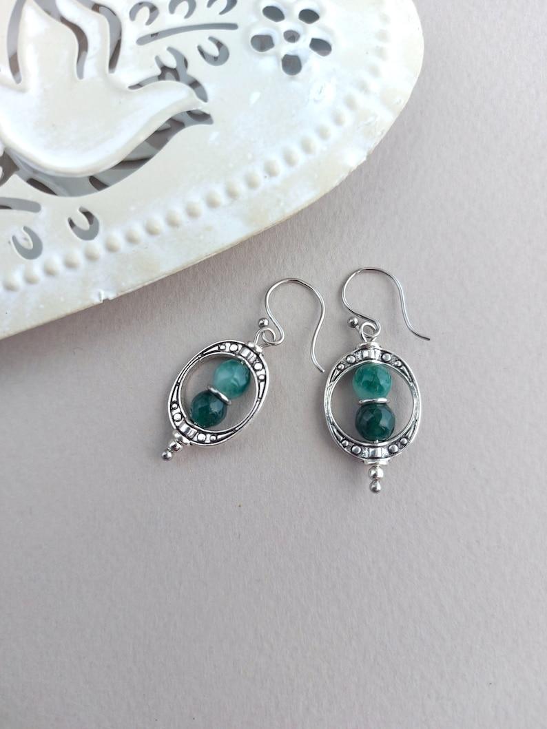 Short Green Earrings Silver Bohemian Earrings Geometric image 0