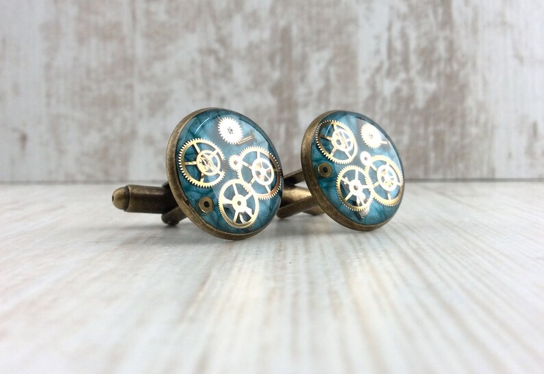 Blue Cufflinks 18mm Bronze Steampunk Cufflinks Resin image 0