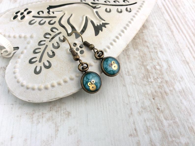 Bronze Dangle Earrings Blue Drop Earrings Watch Part image 0