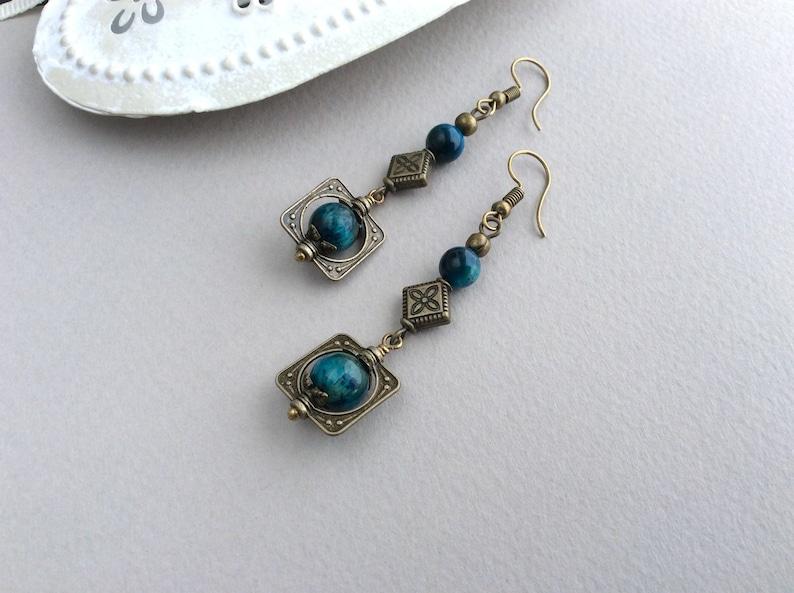 Bohemian Earrings Boho Jewellery Bronze Earrings Long image 0