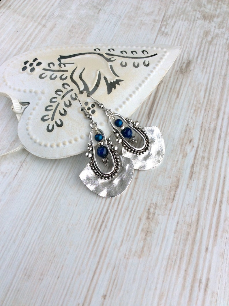 Tribal Earrings Silver Drop Earrings Dark Blue Bead image 0