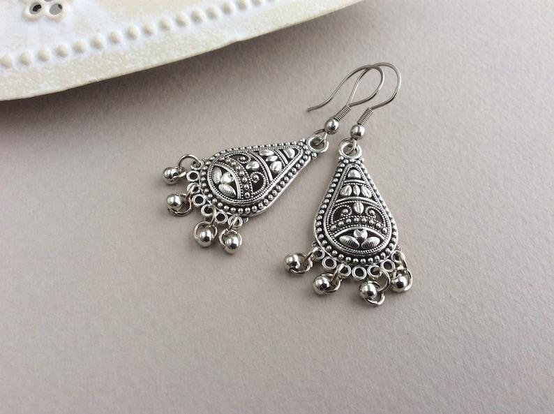 Silver Chandelier Earrings Silver Teardrop Earrings Silver image 0