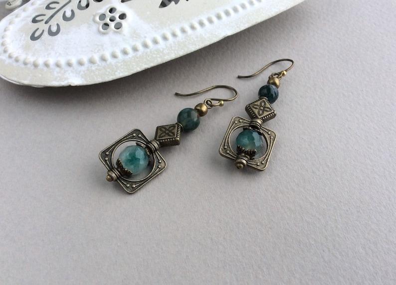 Short Boho Earrings Bronze Earrings Bohemian Jewellery image 0