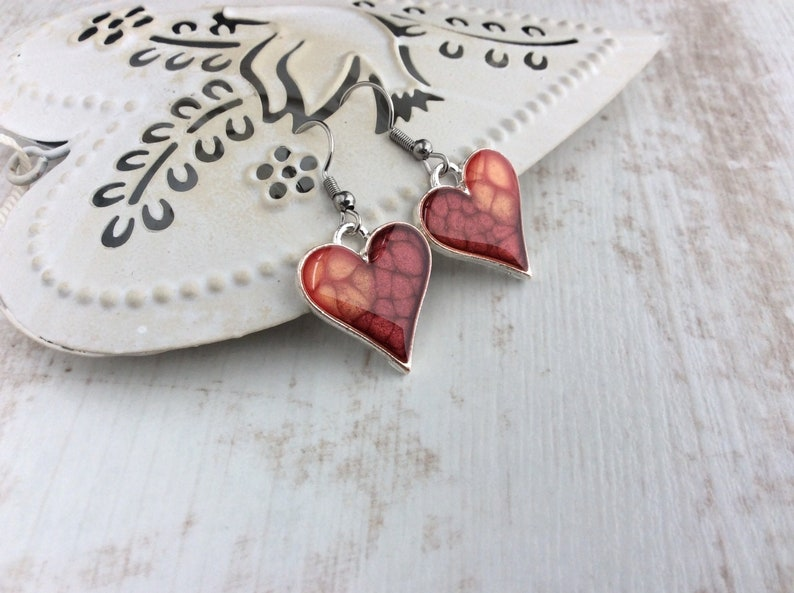 Red Heart Earrings Heart Drop Earrings Lava Earrings Red image 0