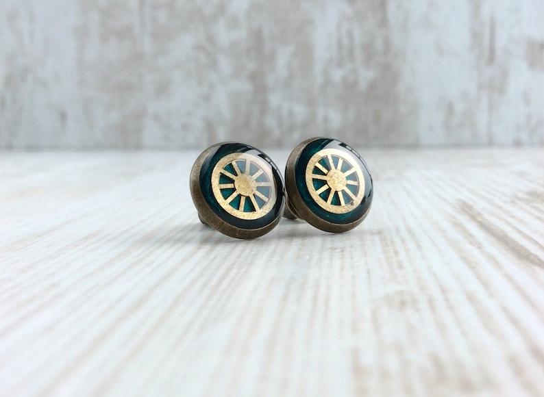 Green Stud Earrings Dark Green Studs Bronze Studs Vintage image 0
