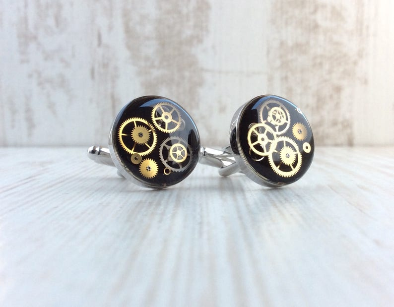 Steampunk Wedding Cufflinks. Luxury Chunky Cufflinks. Black image 0