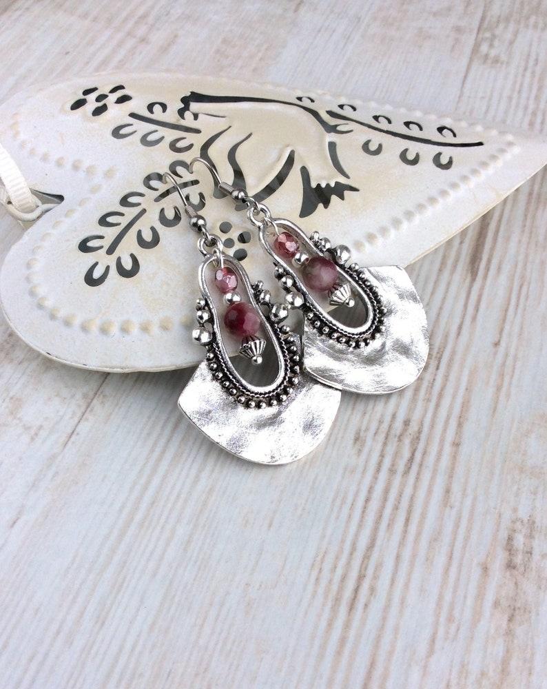 Tribal Earrings Silver Drop Earrings Pink Bead Earrings image 0