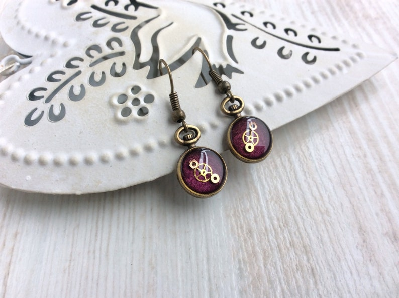 Purple Earrings. Small Purple Drop Earrings. Watch Part image 0