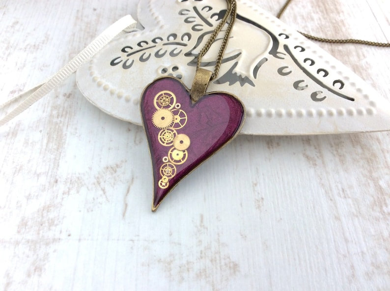 Steampunk Necklace Large Clockwork Heart Purple Heart image 0