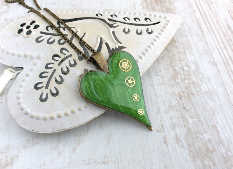 Lime Green Necklace Bright Necklace Green Heart Steampunk image 0