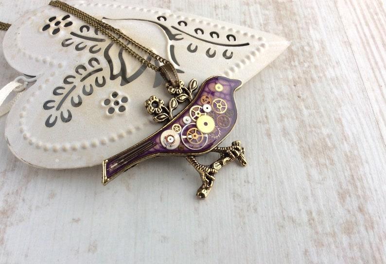 Steampunk Bird Necklace Statement Necklace Large Pendant image 0