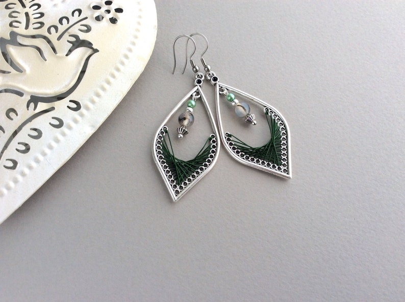Green Leaf Earrings Wire Wrap Earrings Dark Green Wire image 0