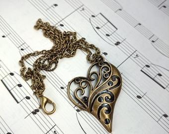Bronze Heart Necklace, Ornate Heart Pendant, Bronze Anniversary, Gift for Wife, Bronze Wedding Gift, Bronze Necklace, 8th Anniversary Gift