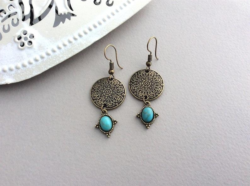 Bronze Disc Earrings Boho Earrings Bohemian Jewellery image 0