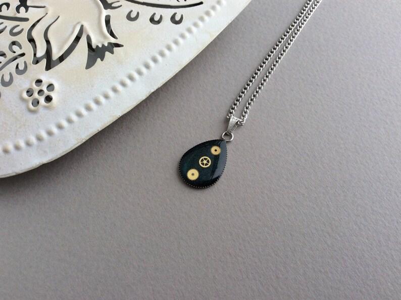 Steampunk Teardrop Necklace Black Necklace Teardrop Pendant image 0