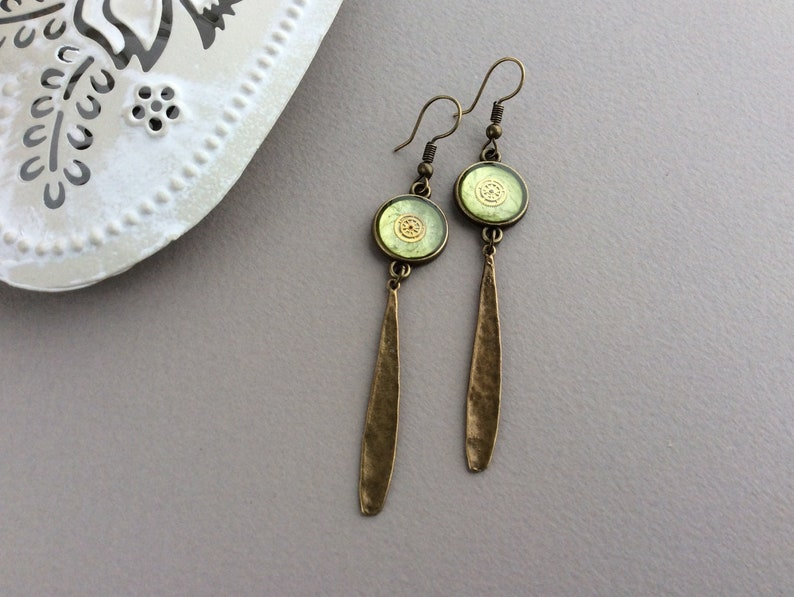 Long Drop Earrings Steampunk Earrings Light Green Earrings image 0