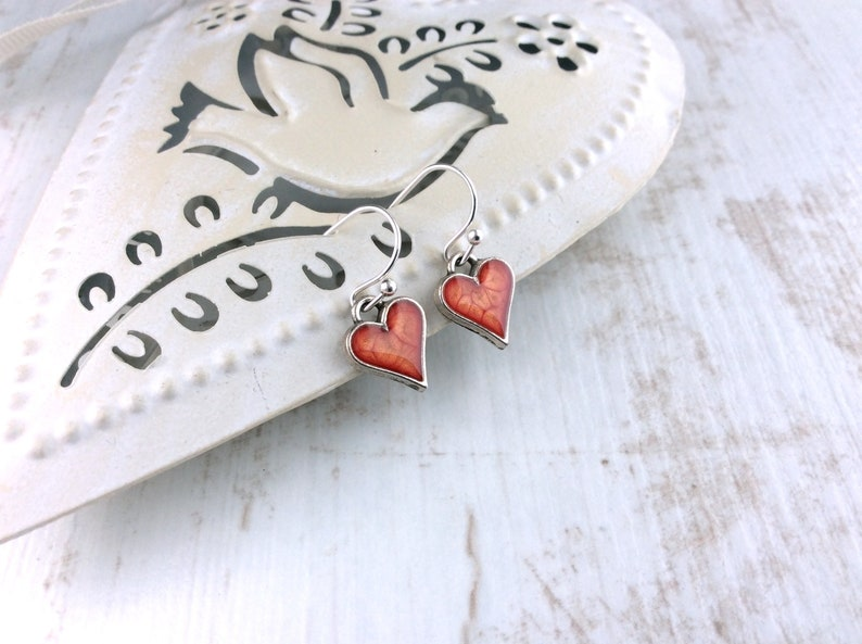 Small Orange Earrings Little Heart Earrings Tiny Silver image 0