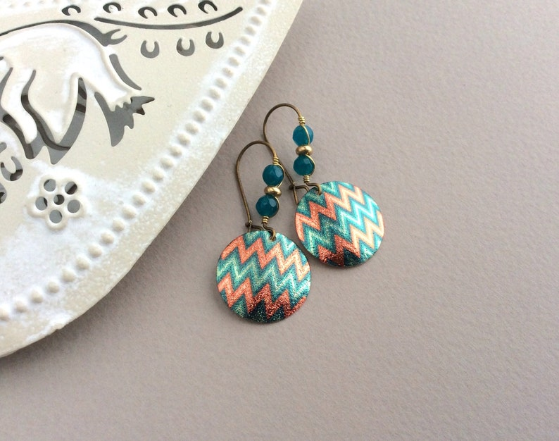 Bright Blue Earrings Latchback Ethnic Earrings Blue and image 0